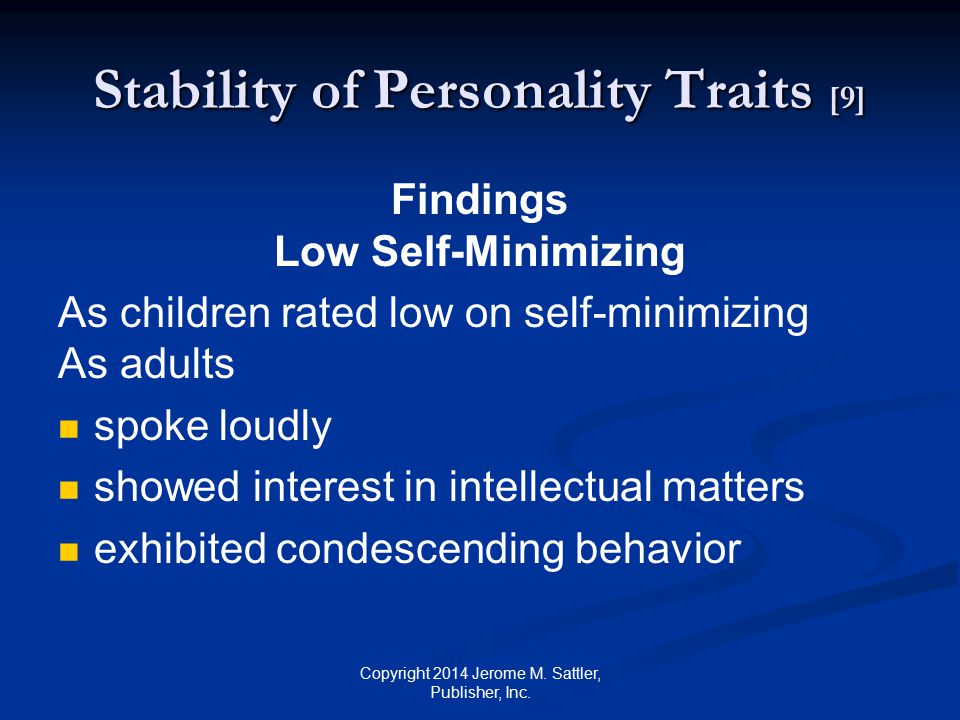 Stability of Personality Traits [9]